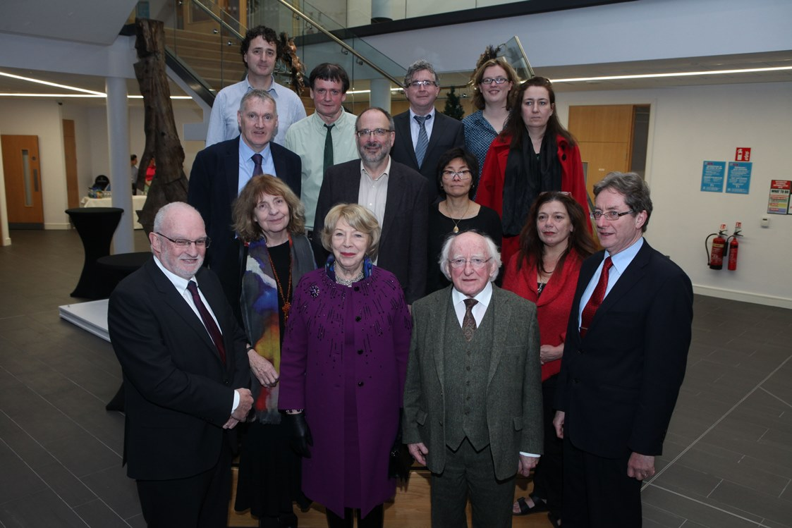 The current SSRC Board with the President of Ireland, Michael D Higgins, and the President of NUI Galway Dr James Brown